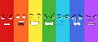 Various faces showing different emotions in a rainbow pattern. Anger, surprise, happiness, evilness, doubtful, sadness and disgust.