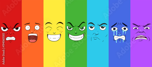 Fotografie, Obraz  Various faces showing different emotions in a rainbow pattern