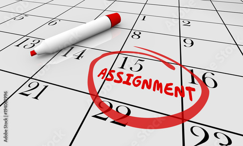 Assignment Calendar Project Task Due Date Circled 3d Illustration Canvas Print