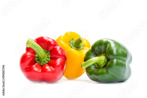 Fotografiet Sweet bell pepper isolated on white background, Red, Freen, Yellow