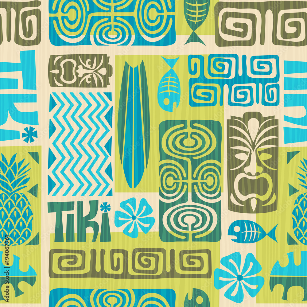 Fototapeta Seamless Exotic Tiki Pattern. Vector illustration