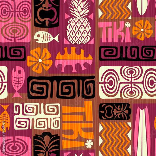 Materiał do szycia Bezszwowe Tiki egzotyczny wzór. Ilustracja wektorowa