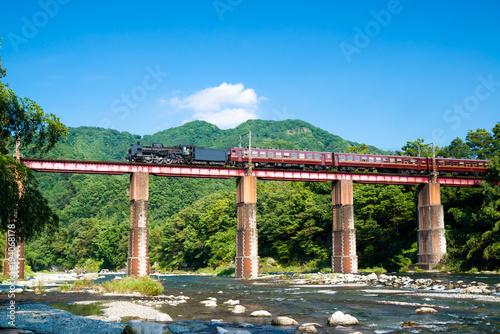鉄橋を渡る蒸気列車
