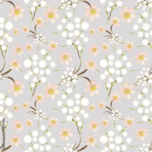 Obraz na płótnie z abstrakcyjnymi kwiatami na gałązkach
