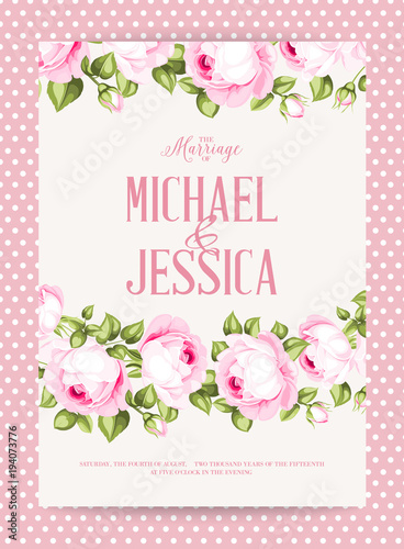 Flower garland for invitation card wedding card template with flower garland for invitation card wedding card template with blooming roses and custom text isolated mightylinksfo