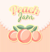 Retro Peach Jam Label With Tit...