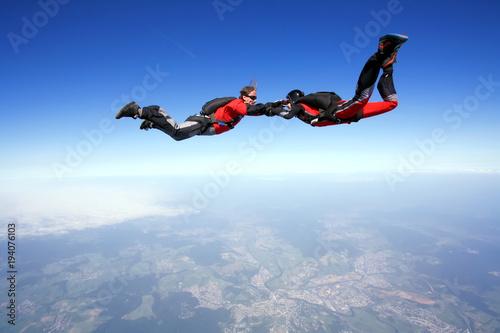 Fotografie, Obraz  Skydive couple in action