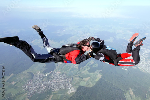Skydive couple in action