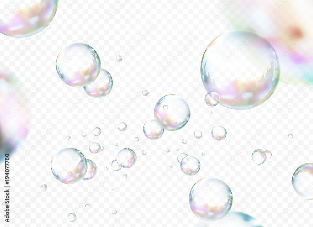 Fototapety, obrazy: Attractive bubbles set