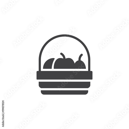 Fruit basket vector icon Fototapet