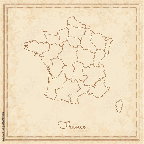 Detailed Map Of France Regions.France Region Map Stilyzed Old Pirate Parchment Imitation Detailed