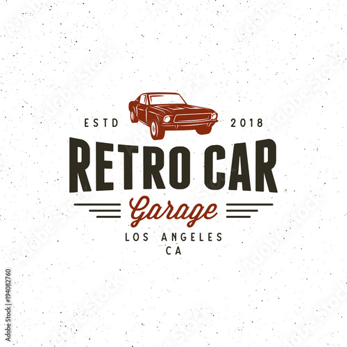 Plakat vintage muscle car garage logo. vector illustration