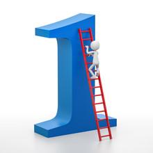 3d Person Is Climbing A Ladder...