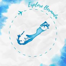 Bermuda Watercolor Island Map ...