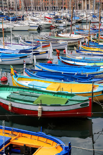 Garden Poster Water Motor sports Colorful boats in the port of Nice, Cote d'Azur, French Riviera