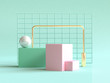 abstract green scene blank pink green square podium 3d rendering