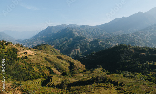 landscape with scenic mountains and green vegetation on