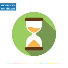 Hourglass Flat Icon With Long Shadow. Vector Illustration.