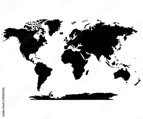 The Earth, World Map on white background. Antarctica. Vector ...