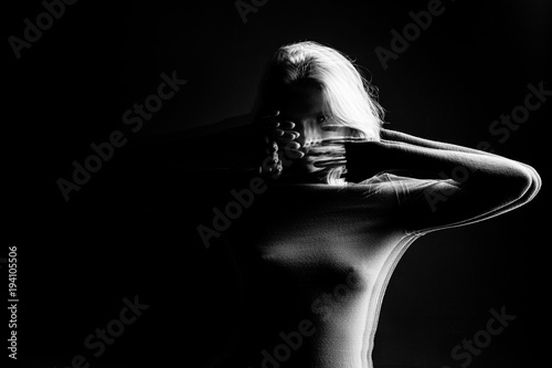 Fotografia, Obraz mystical intriguing black and white portrait of a young girl