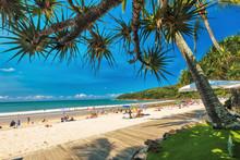 NOOSA, AUSTRALIA, FEB 17 2018: People Enjoying Summer At Noosa Main Beach - A Famous Tourist Destination In Queensland