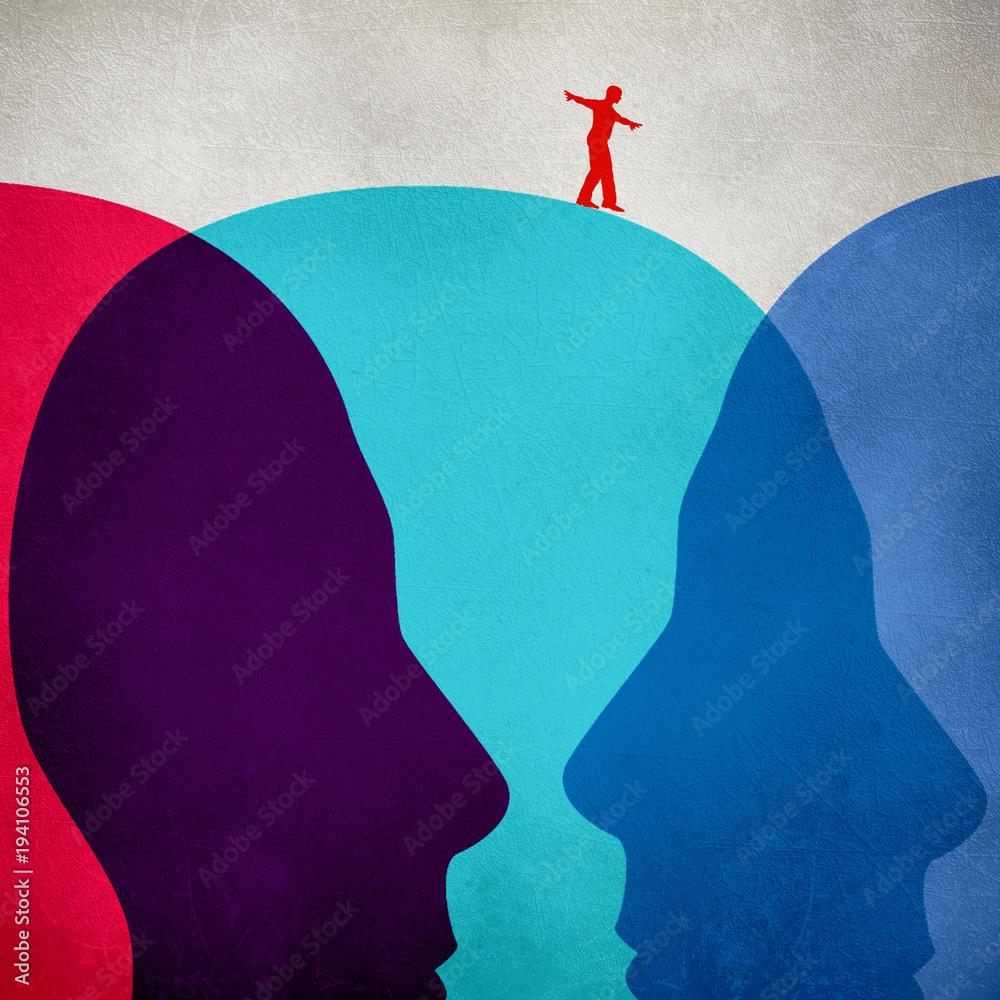 Fototapety, obrazy: equilibrist walking on colored human heads digital illustration