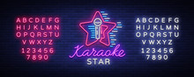 Karaoke Star Vector. Neon Sign, Luminous Logo, Symbol, Light Banner. Advertising Bright Night Karaoke Bar, Party, Disco Bar, Night Club. Live Music. Design Template. Editing Text Neon Sign
