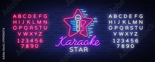 karaoke star vector neon sign luminous logo symbol light banner