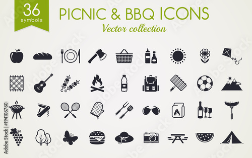 Photo Picnic and barbecue vector icons.