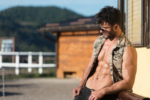 Fototapety, obrazy: Handsome Man at Ranch Outdoors