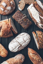 Delicious Fresh Bread On Woode...