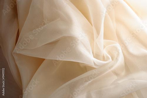 Fotografie, Obraz yellow closeup organza fabric wavy texture