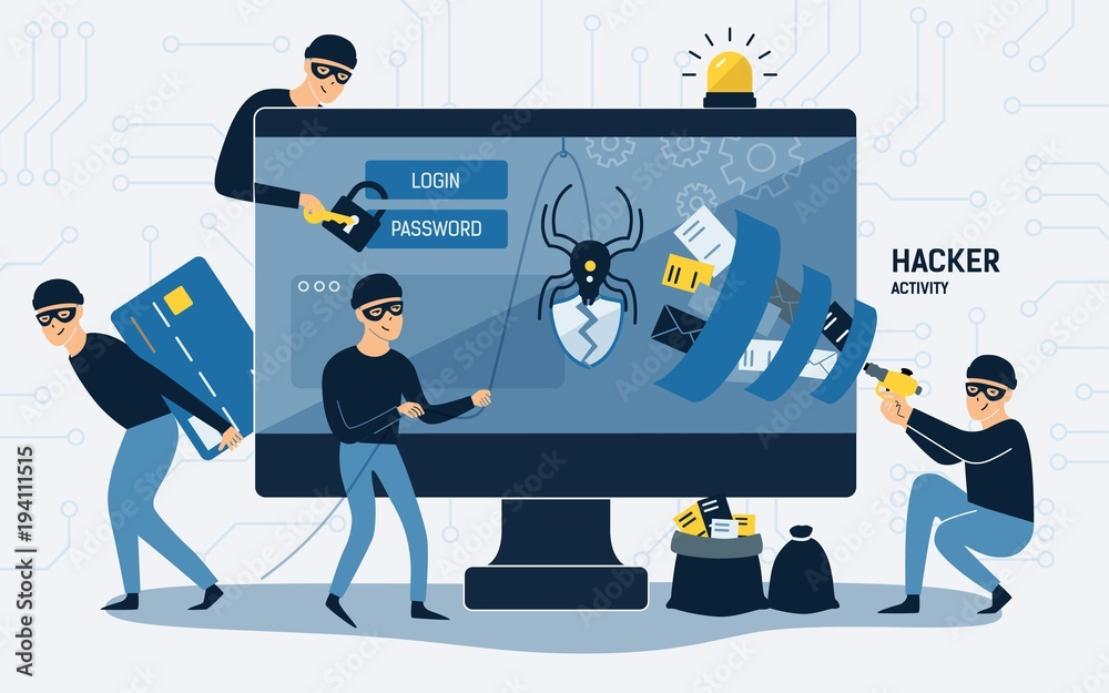 Fototapeta Criminals, burglars or crackers wearing black hats, masks and clothes stealing personal information from computer. Concept of hacker internet activity or security hacking. Cartoon vector illustration.