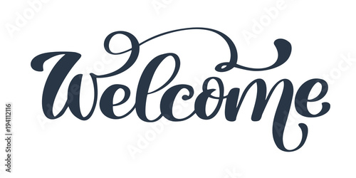 Photo  Welcome Hand drawn text