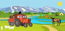 Country Side View Of Typical Village  In The Mountain Valley Concept Vector Of Life Style Of Nomads Vector