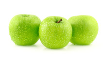 Fresh Green Apple With Water Drops Isolated On White Background