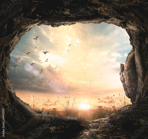 Fotografie, Obraz World environment day concept: Empty tomb stone and meadow autumn sunrise backgr