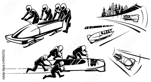 Leinwand Poster Bobsleigh and four athletes in perspective