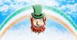 St Patrick's Day. Leprechaun With Green Hat Against Irish Four Leaf Clover Background 3D illustration
