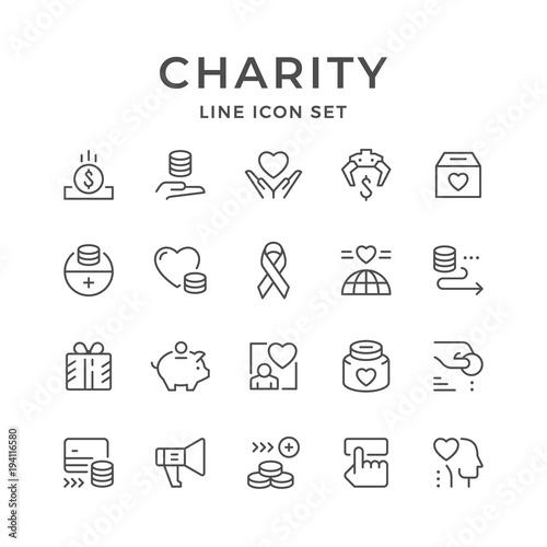 Fotografie, Obraz  Set line icons of charity