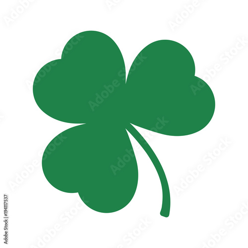 Cuadros en Lienzo  Green Shamrock leave icon in trendy flat style isolated on white background