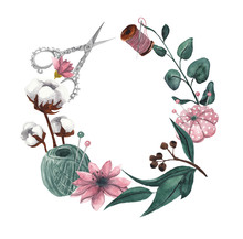 Wreath With Sewing Items And F...