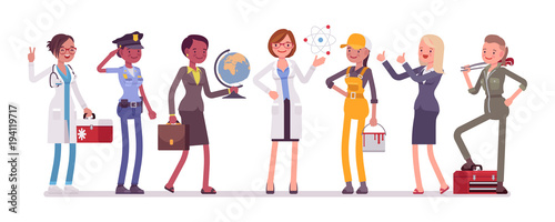 Stampa su Tela Women professions set