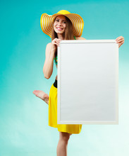 Woman In Bikini Holds Blank Presentation Board.