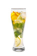 Summer drink with lemon, orange and mint, ice on isolated white background. Direct perspective, cool, refreshing