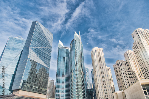 Skyscrapers in Dubai, United Arab Emirates, bottom view