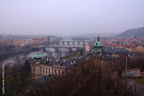 Recess Fitting Eastern Europe Evening Prague panorama. Czech. Cityscape.
