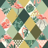 Fototapeta Młodzieżowe - Exotic beach trendy seamless pattern patchwork illustrated floral vector tropical leaves. Jungle pink flamingos print background.
