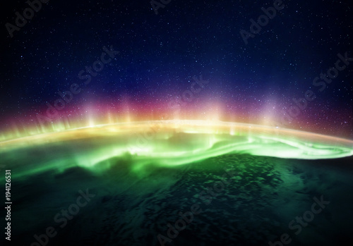 Foto auf Gartenposter Nordlicht View of the planet Earth and Northern lights from space. Elements of this image furnished by NASA.