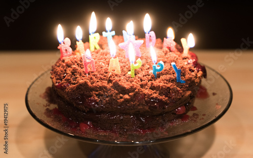 Chocolate Birthday Cake With Candles On It